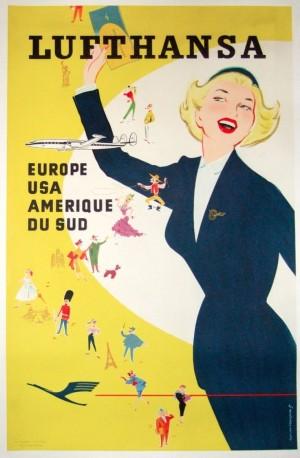 Vintage 1960 Airlines Flight Poster